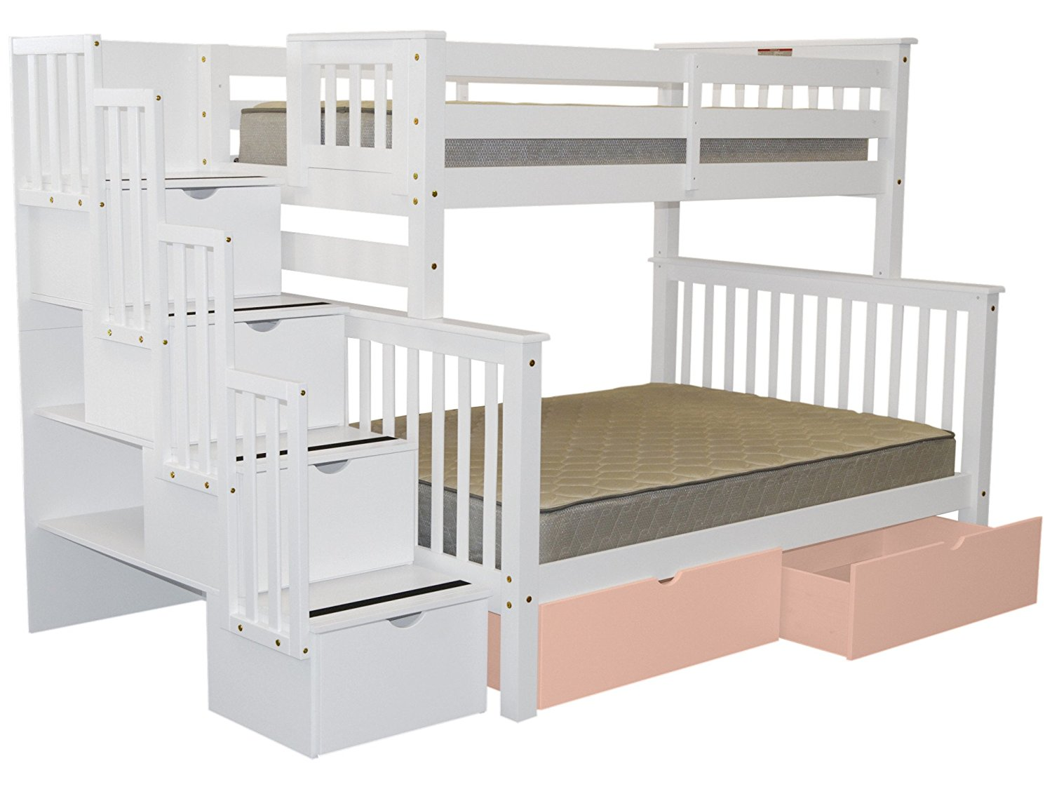 ea80c3b60199af Bedz King Stairway Bunk Bed Twin over Full with 4 Drawers in the Steps and 2  Under Bed Drawers in Pink, White