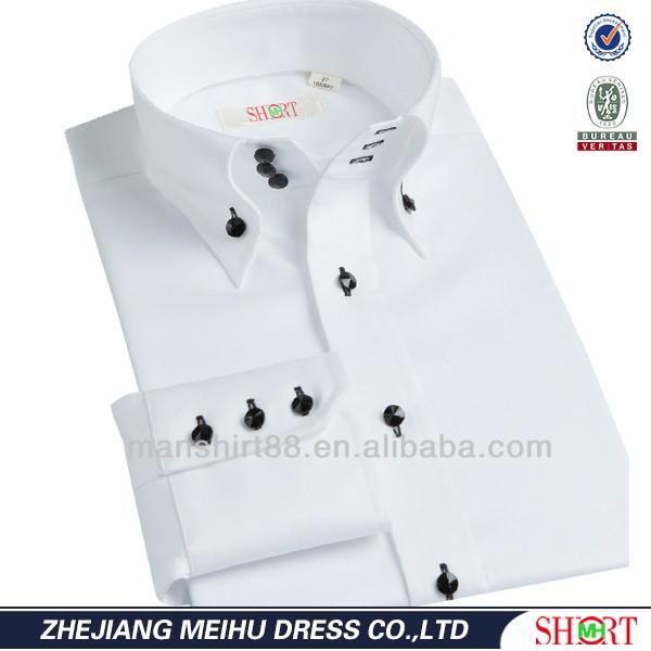 2016 Three Button Fastening Button Down Collar Long Sleeve White ...