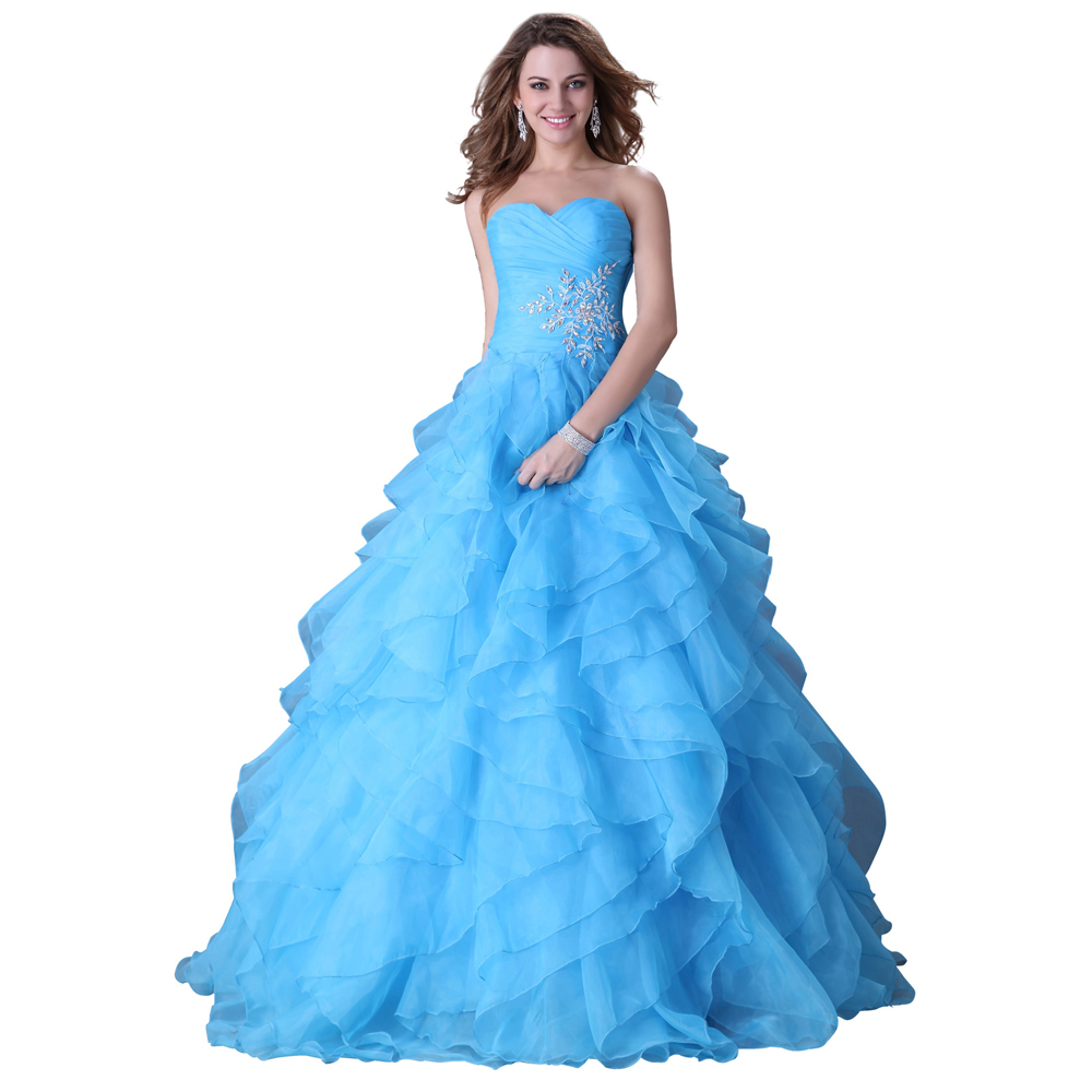 Free Shipping Grace Karin Yellow/Blue/Fuchsia Stock Strapless Organza Party Ball Gown Prom Evening Dress 3411