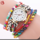 Fashion Gift Women Watches Rope And Wood Beads Quartz Vintage Watches For Women