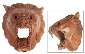 Wood Mask Tiger Fangs Buy Balinese Animal Wood Carving Art Product On Alibaba Com