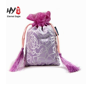 Elegant embroidered satin drawstring jewelry collection bag