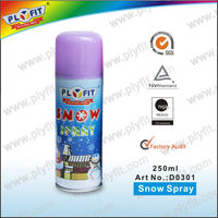 Colorful christmas decorations snow spray