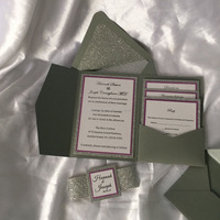 grey pocket fold invitation with rose red edge card for wedding invitations supplies
