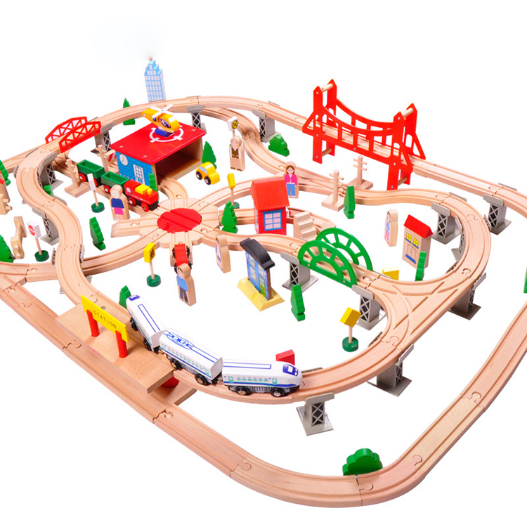 Train set high quality year 8 wooden diy educational stacking slot toys