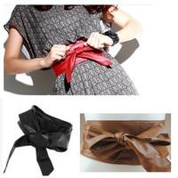 Girl Super Soft PU Leather Wrap Bow Waist Wide Dress Belt