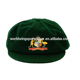 Mens custom bottle green polyester acrylic embroidered baggy cricket cap