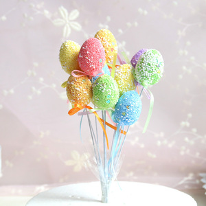Lovely Colorful Beads Eggs with Butterfly Ribbon Cake Topper For Wedding /Birthday Party Cake Topper Decoration