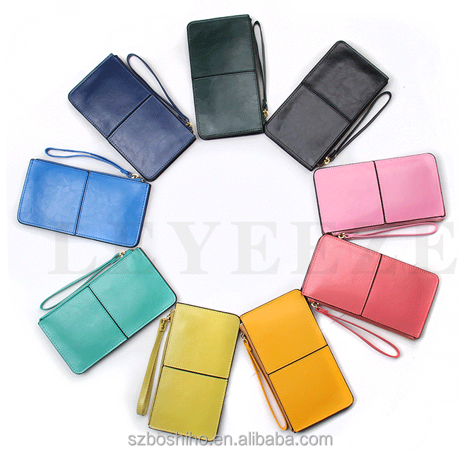 Boshiho oil wax leather wallet women woman lady weekly handbags muiti colors for your choice