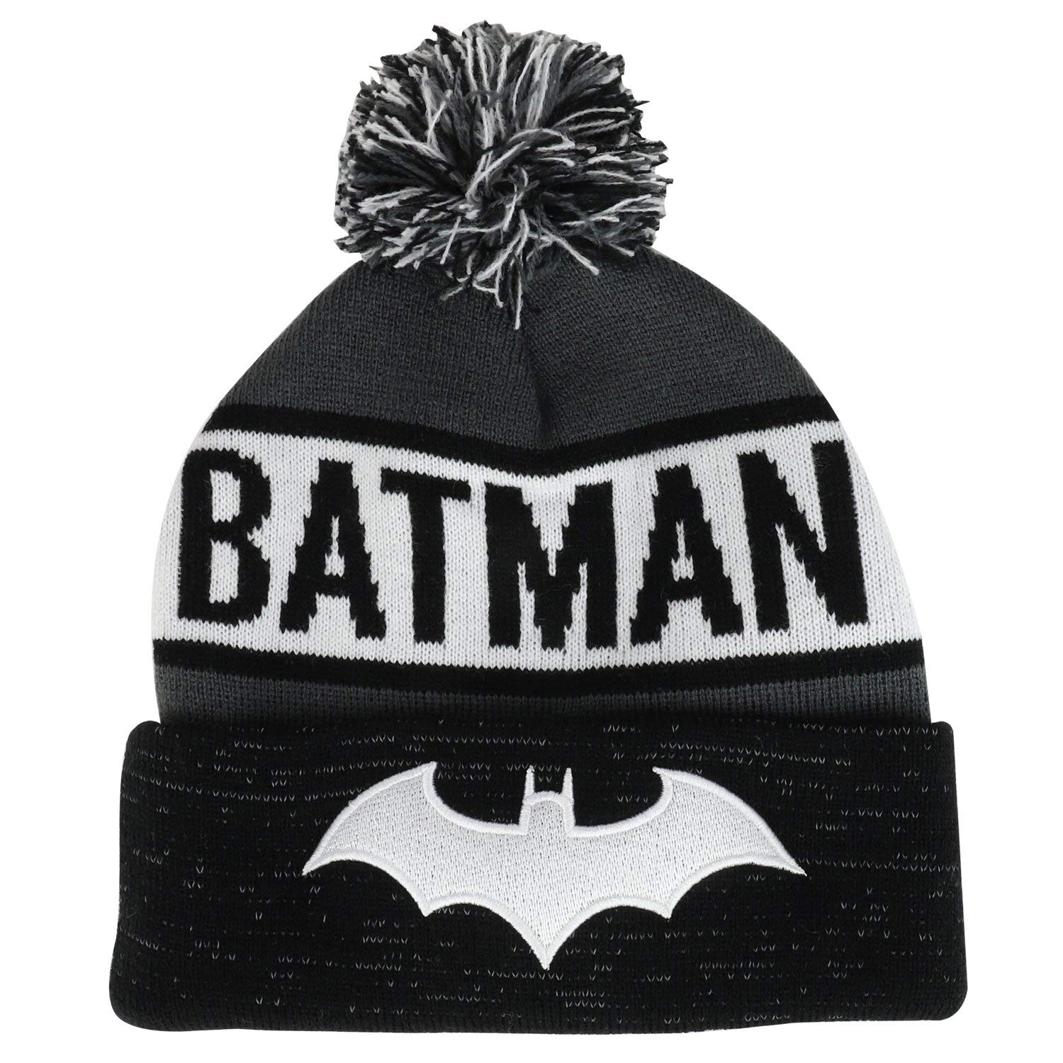 5afd3370a8481 Get Quotations · Armycrew Batman Logo Embroidered Long Cuffed Beanie With  Pom Pom
