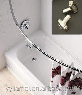 Bathroom online sale chrome curved shower rod stainless steel curved shower curtain rod