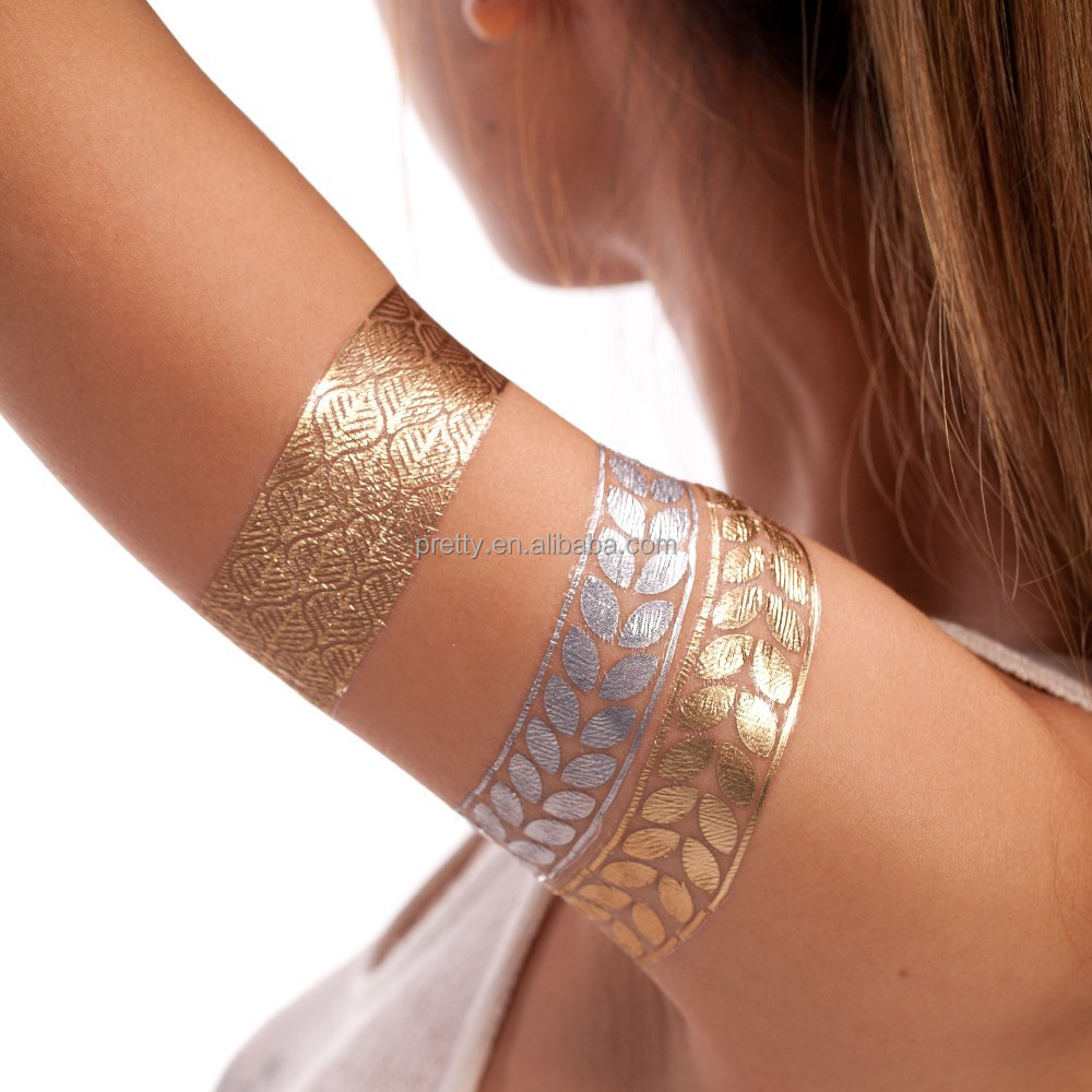 Gold And Silver Tattoo Stickers 2015 Fashionable Body Paiting Temporary Tattoos