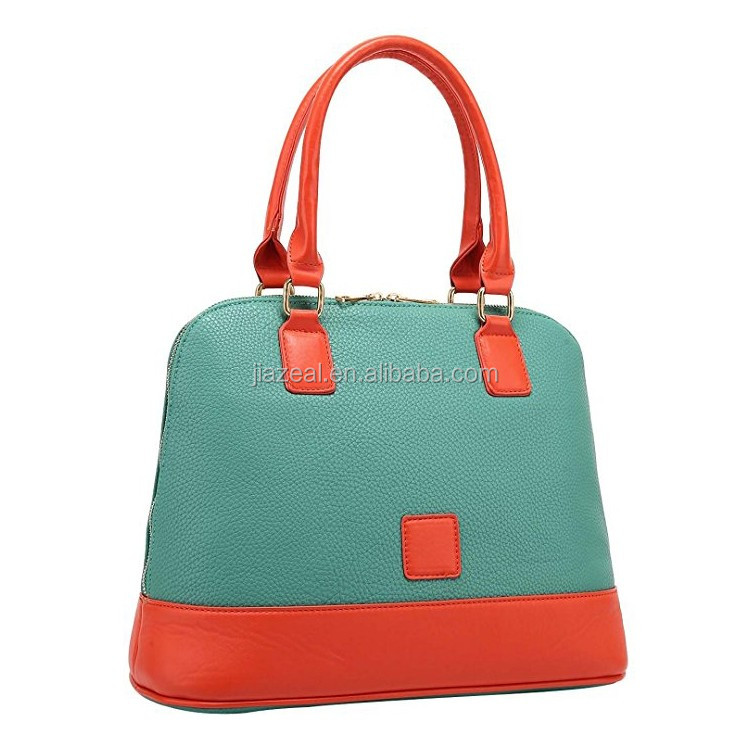 Small PU Leather Dual Tone Bowling Satchel Bag One Size