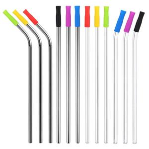 Storage Pouch Package Multicolor Comfort Tips Cover With Long Metal Drinking Straws