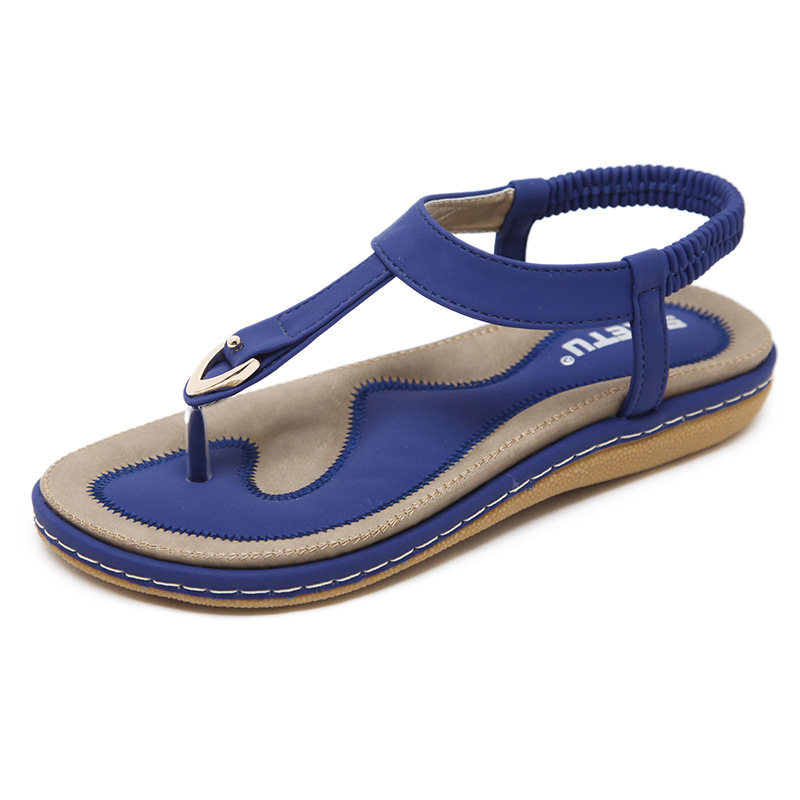 2019 Latest PU Leather Open Toe Soft Bottom Flat Sandals For Women And Ladies