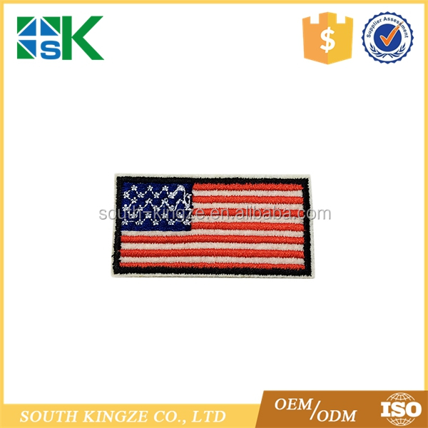 AMERICAN FLAG EMBROIDERED PATCH iron-on Black BORDER US UNITED STATES SHOULDER