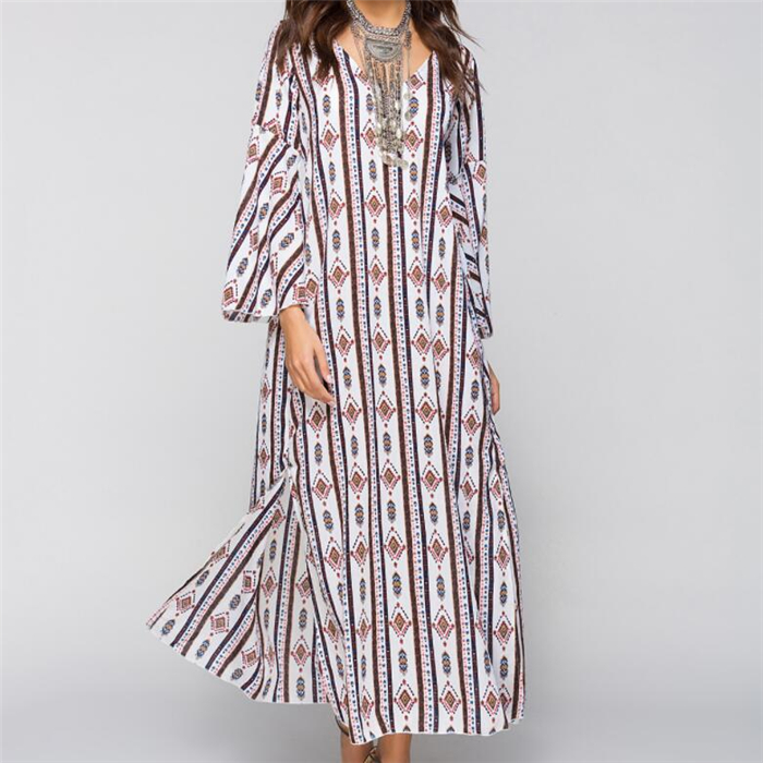 Spring Summer Long Sleeve Lace-up Print Floral Loose Maxi Long Dress