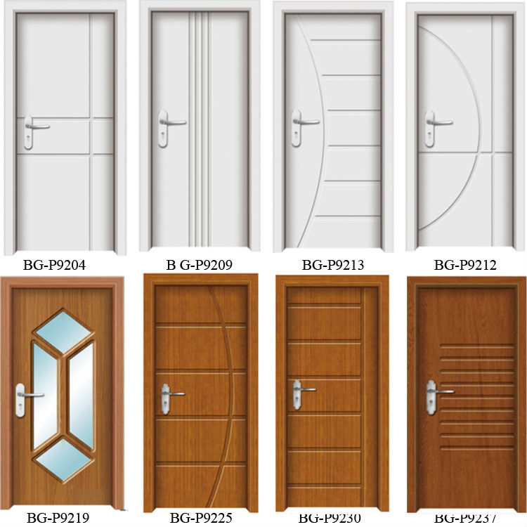 BG P9238 Teak Wood PVC Bathroom Door Design / Toilet PVC Door Design Part 94