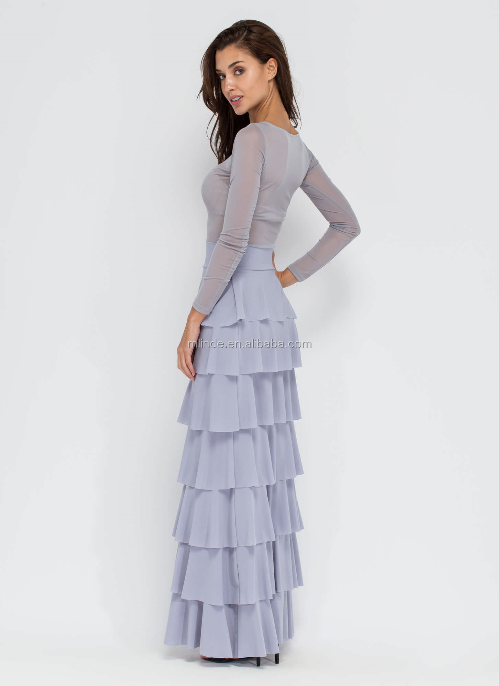 dd94e115871691 Wholesale new fashion factory price tiered layer ruffled maxi skirt high  quality elegant long lady skirt manufacturer