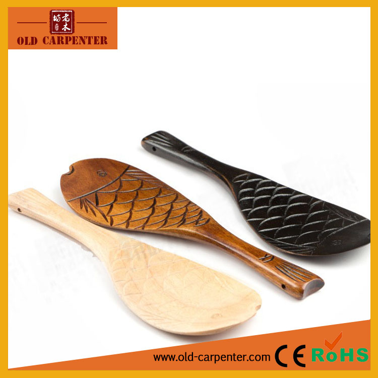 Factory wholesale 2016 fish shape wood rice shovel /wood rice spoon
