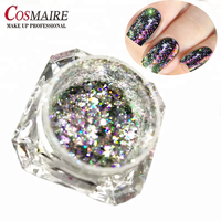 Aurora holographic flakes laser effect nail art pigment powder for nail polish