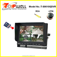 9 INCH 4 RCA Waterproof Ce cetification 4 CH Quad Built in DVR Car monitor for universal car