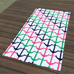 Cross Border European-Style Reactive Printed Cut Pile Anchor Beach Swimming Mat Bath Towel