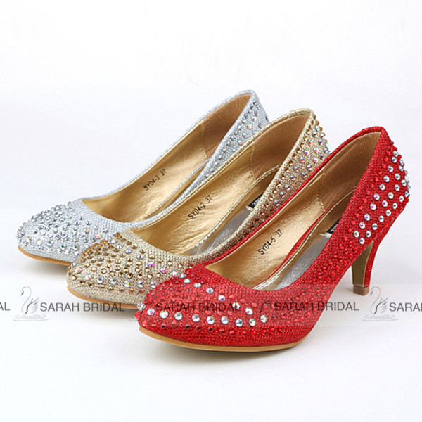 Fashionable Shining Paillette Red/Silver Wedding shoes Luxury Round Toe Women Pumps Bridal Shoes 2015 sapatos de salto alto SY04