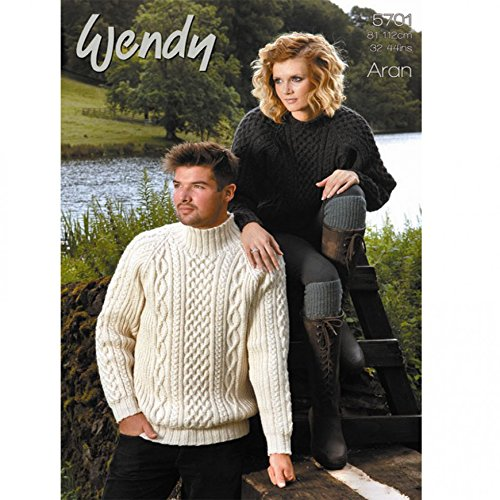 59c2097c43aa Get Quotations · Wendy Mens   Ladies Sweaters Traditional Wool Knitting  Pattern 5701 Aran