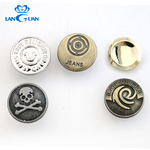 Customized Logo 17mm Round Metal Jeans Buttons for Clothes