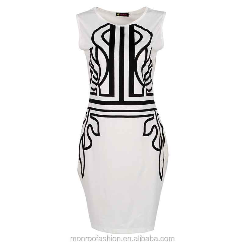 monroo White Sleeveless Embroidery Dress on Sale Super Deal Bodycon Work Dress Elegant Lady Trendy Women Dress