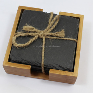 SouvNear stone Drink Coasters Set - Elegant Set of 4 Hand Carved Square Wooden Dark Brown Coasters