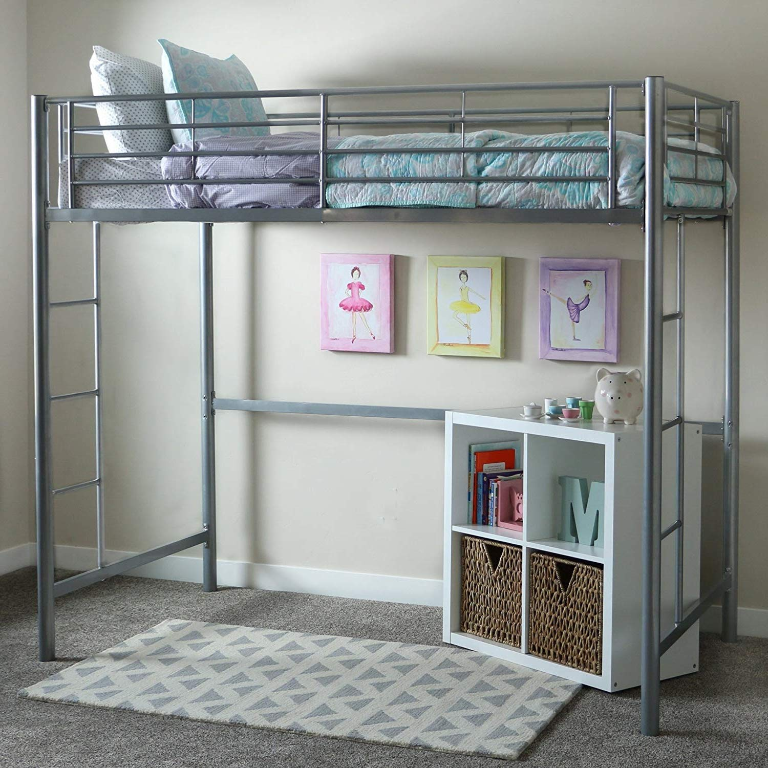 Bunk Beds for Kids Toddler Twin Metal Loft Silver Your Child Will Sleep in Style and Great Solution for Your Space Saving Needs by HomeTeks