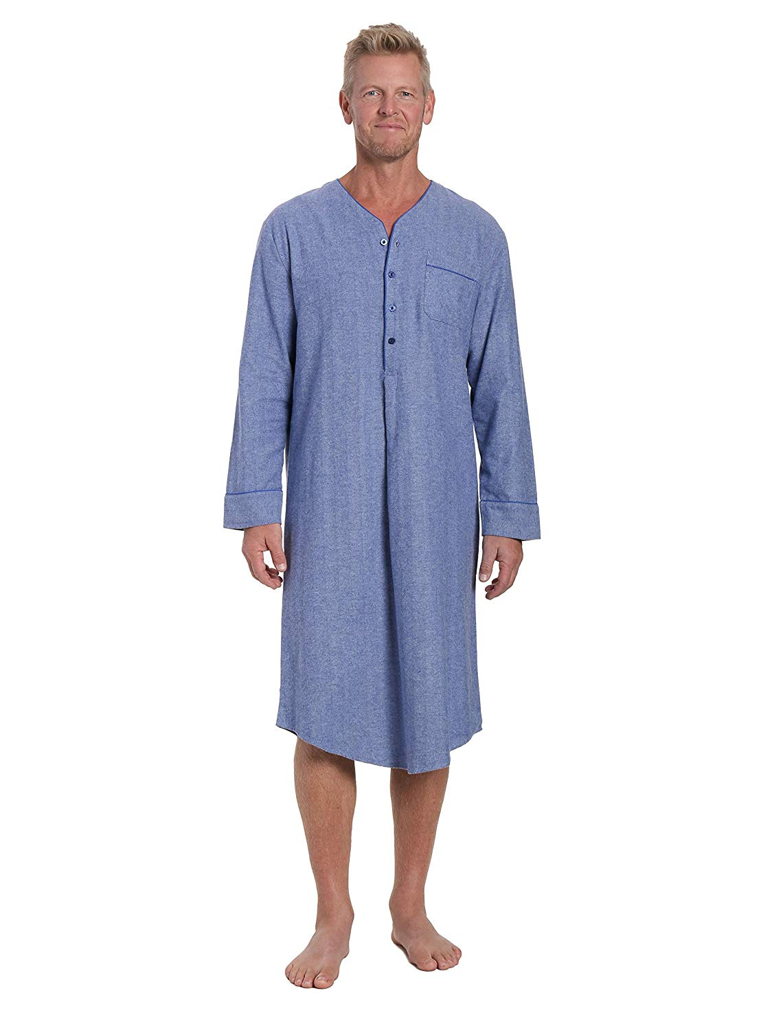 324fb72c094 Get Quotations · Noble Mount Mens 100% Cotton Flannel Nightshirt