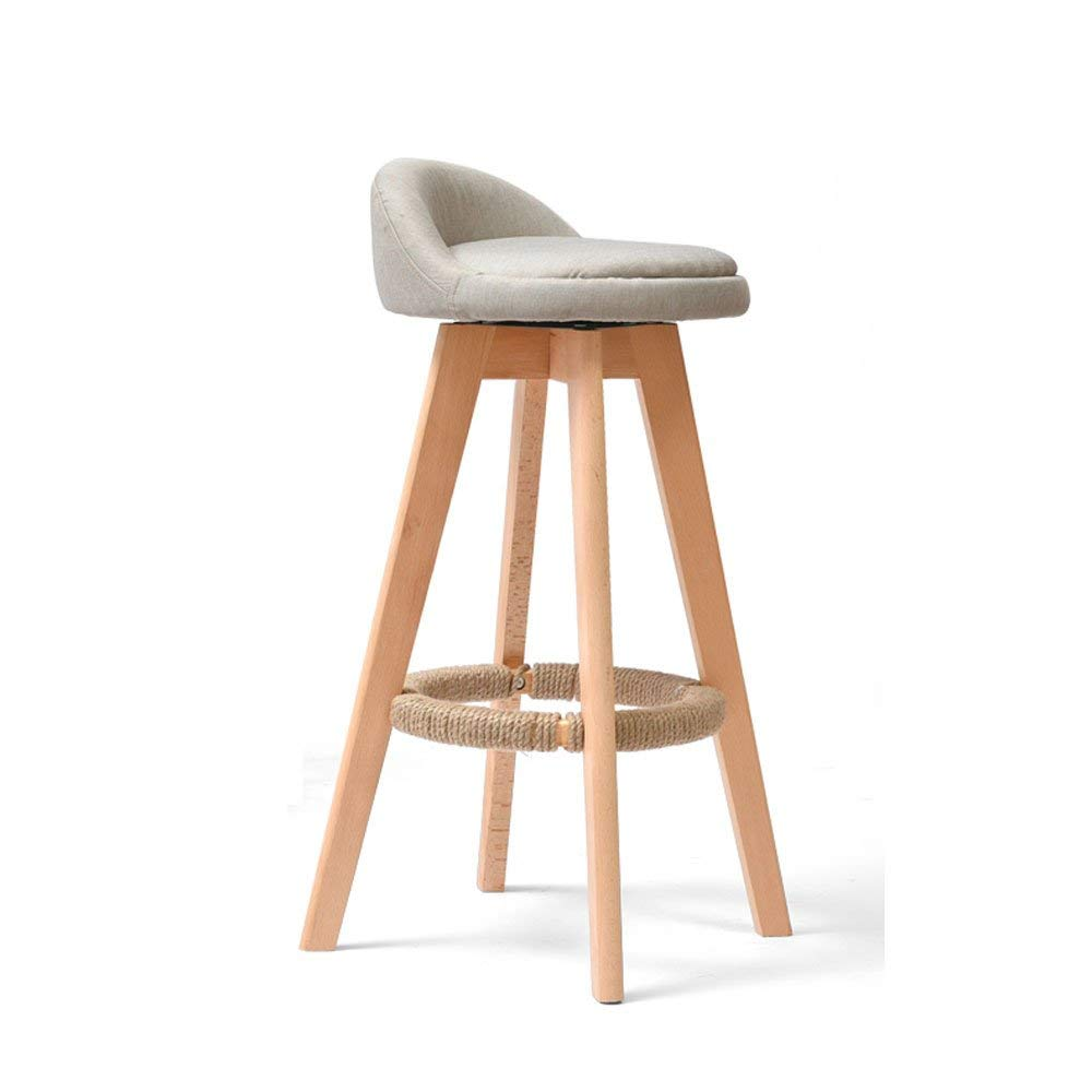 Get Quotations Solid Wood Bar Stool Modern Minimalist Backrest Chair Retro Rotating Tall Front Desk