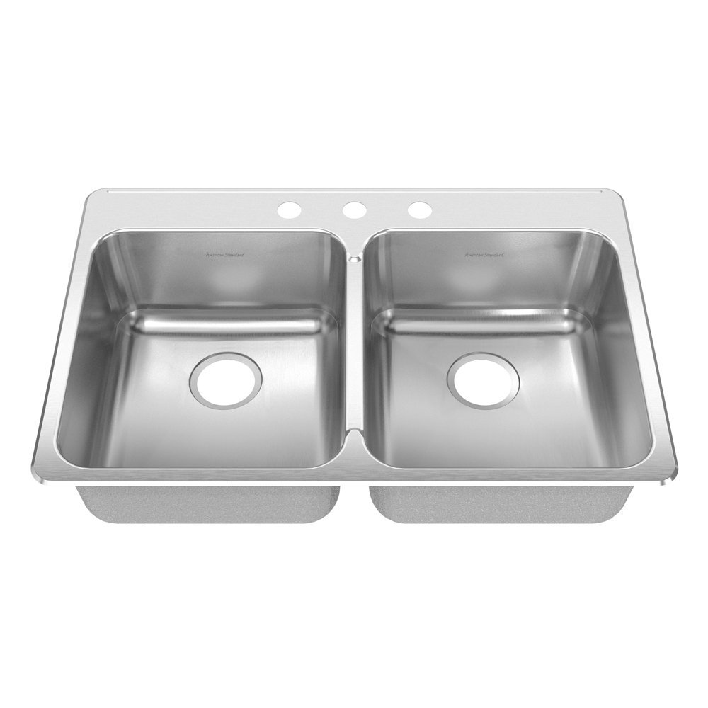 American Standard 17DB.332283.073 Prevoir 33.38-Inch Stainless Steel 3-Hole Topmount Double Bowl Kitchen Sink, Brushed Satin