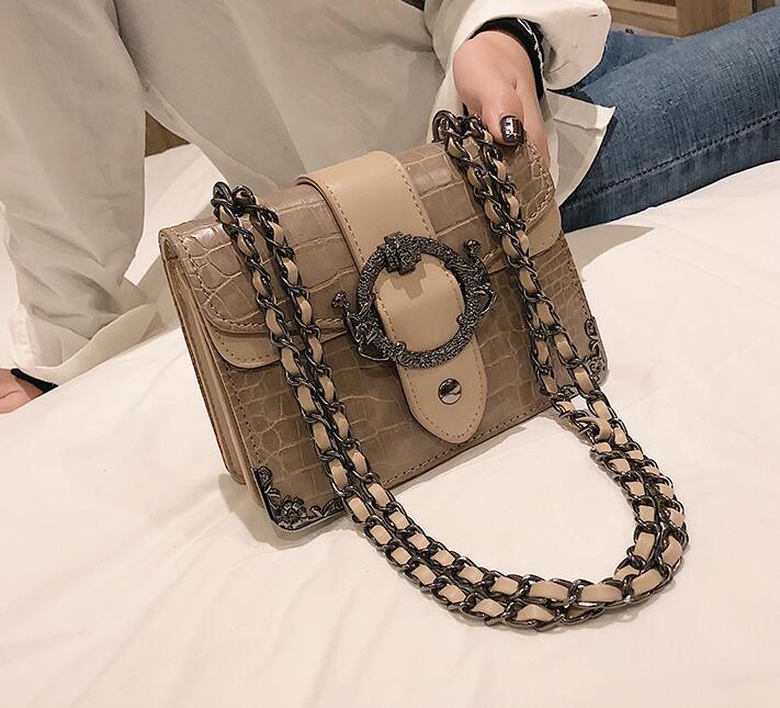 Роскошная сумка в стиле ретро, женская дизайнерская сумка из искусственной кожи, с узором «крокодиловая кожа», на цепочке, на плечо, 2020(Китай)
