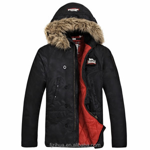 Fur hood winter mens coat