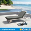 Guadalajara white rattan outdoor furniture lounger with cushion and wheel