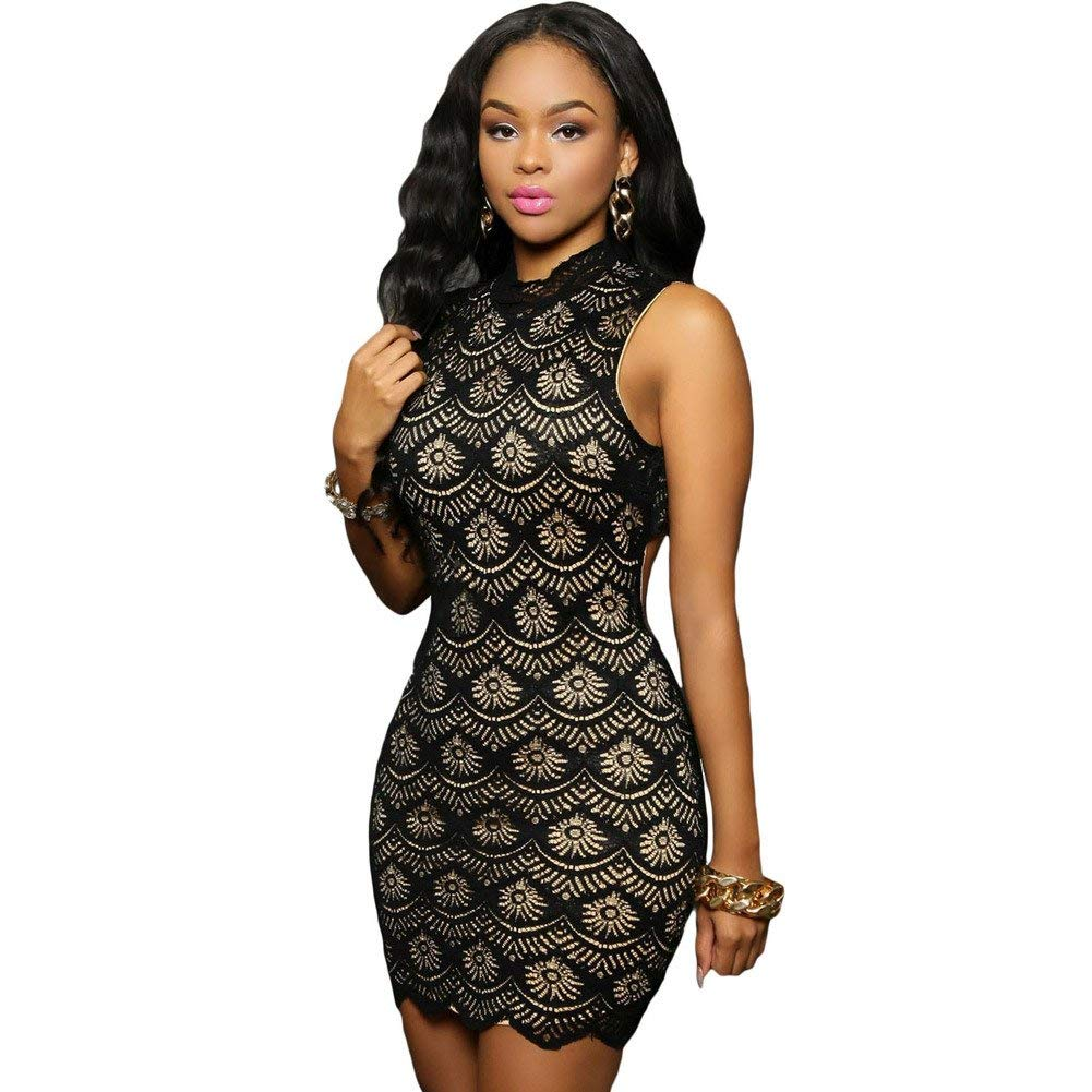 cde6fb42e3 Get Quotations · YLS Stitching dress Couture black turtleneck sleeveless  lace tight Halter pierced