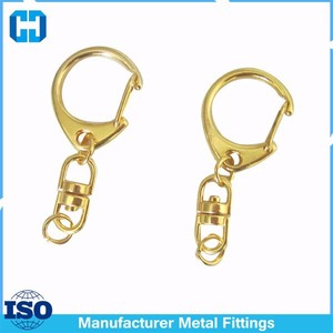 Metal Keychain Parts C Swivel Clasp Hook With Link Connector For Bag Hanger