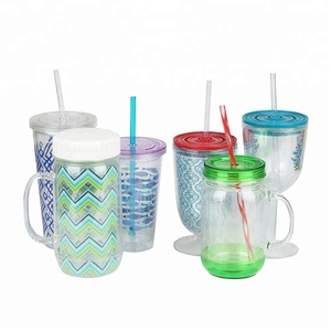 eco-friendly PS plastic 24 oz printed hard plastic reusable cup with lid and straw