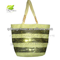 sriped shinning paper straw bag with sequin knife hand bag/ Beach bag