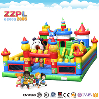ZZPL Party time inflatable bouncer Candles inflatable jumping castle Colorful balloons inflatable bounce house for kids