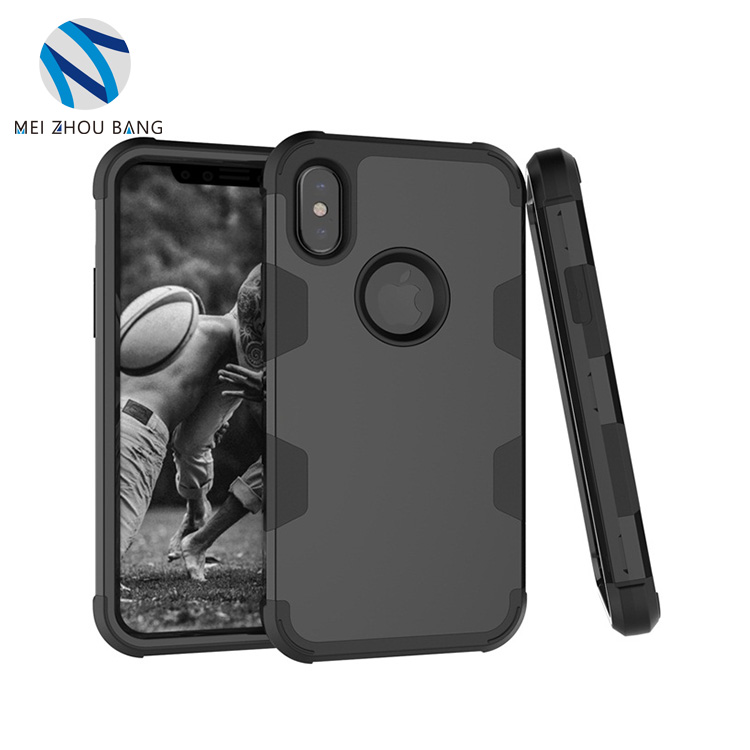 3 in 1 PC+silicone Cellphone Case For Iphone X