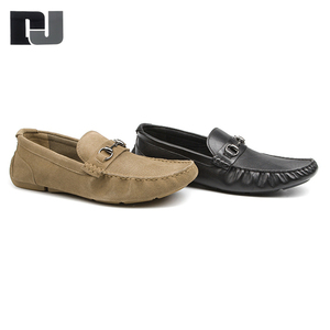 Casual driving genuine leather black moccasin suede flat shoes for men