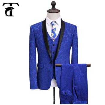 2018 New Arrival Slim Fit Royal Blue Fashion Design 2 Pcs Mens Coat