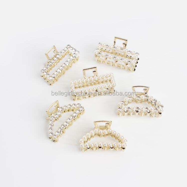 Rectangle shape hollow out style metal with pearl hair claw clips for girls and women