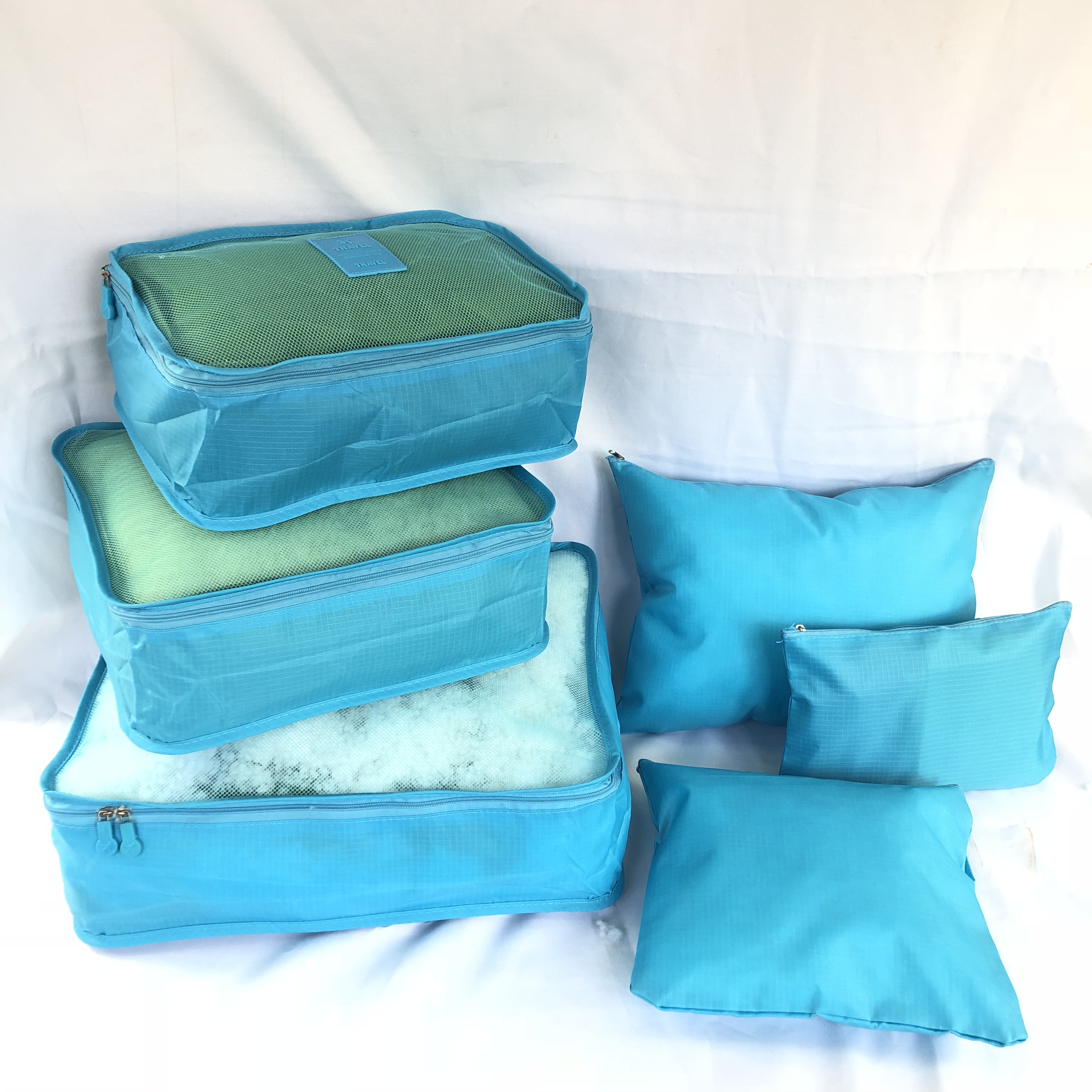 Wholesale Large Capacity Reusable Eco-Friendly 600D Polyester Water Resistant 6pcs Packing Cubes