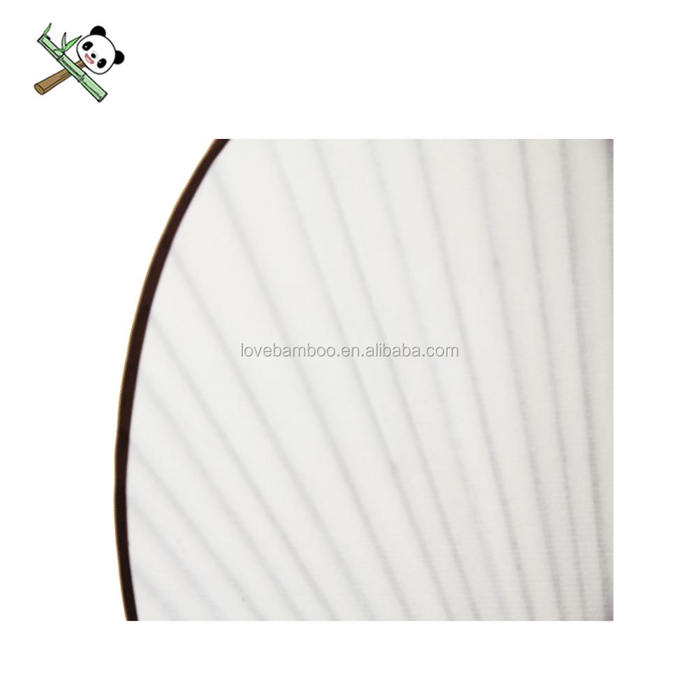 ที่กำหนดเองสีขาวไม้ไผ่ธรรมดามือพัดลมการพิมพ์สองด้านพับผ้าไหมโปร่งใสพัดลมมือ